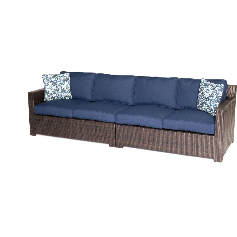 Peachy Hanover Metropolitan Brown 2 Piece Aluminum All Weather Wicker Patio Loveseat Conversation Set With Navy Blue Cushions Ocoug Best Dining Table And Chair Ideas Images Ocougorg