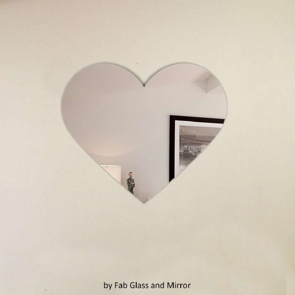 Heart Shape Frameless Decorative Wall Mirror With Hooks