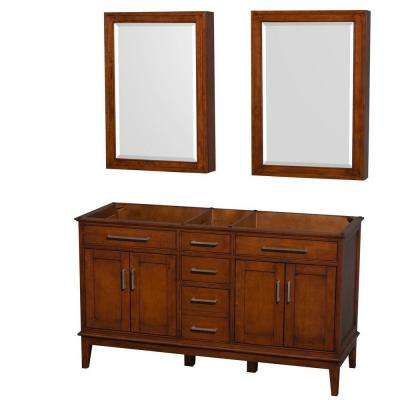Hatton 60 in. Double Vanity Cabinet with Medicine Cabinets in Light Chestnut