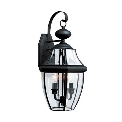 Lancaster 10 in. W 2-Light Black Outdoor Wall Lantern Sconce with Clear Beveled Glass