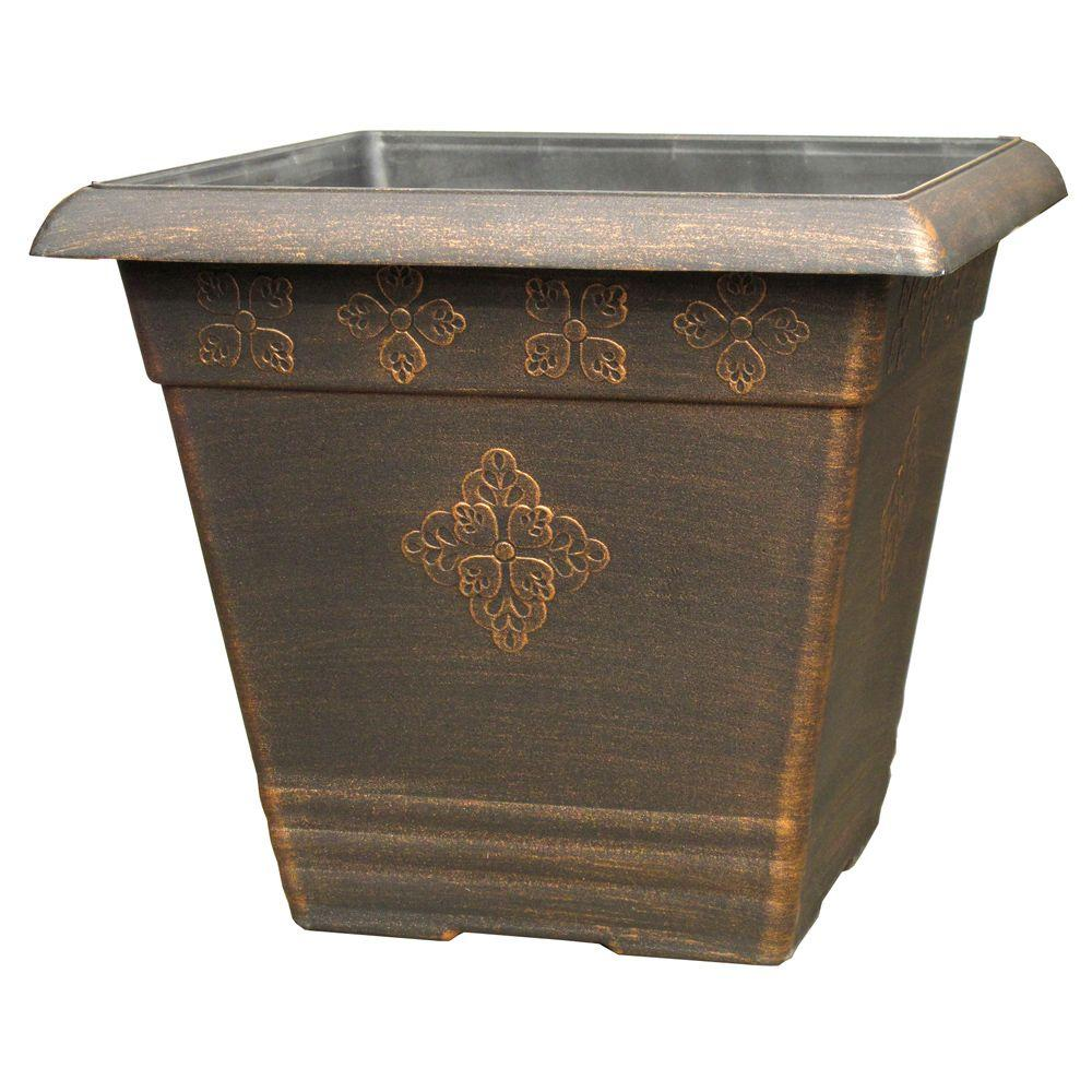 14.5 in. Medley Square Copper Plastic Planter