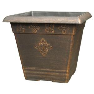 14.5 inch Medley Square Copper Plastic Planter by
