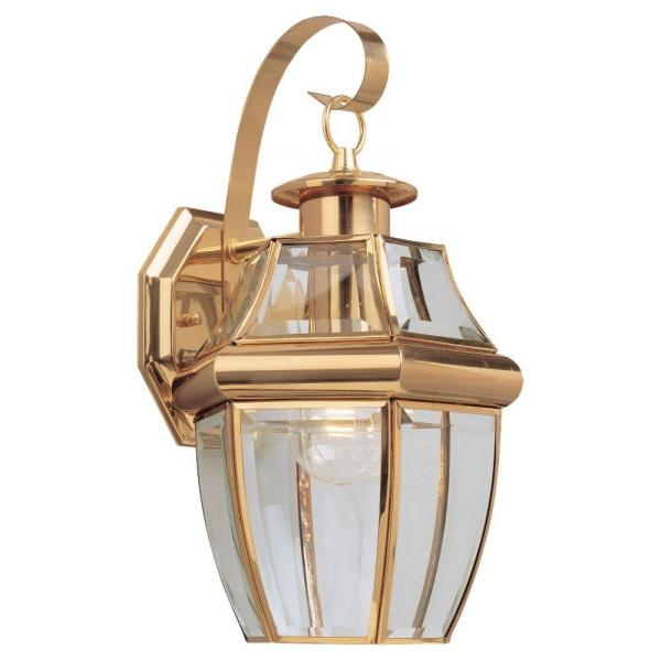 Lancaster 7.75 in. W. Wall Lantern Sconce 1-Light Outdoor 14 in. Polished Brass Fixture