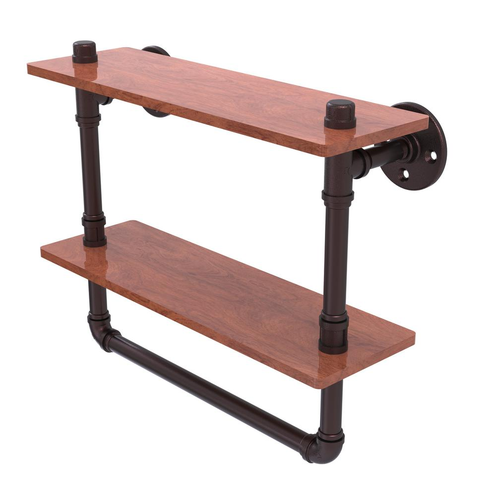 allied brass pipeline collection 16 in double ironwood shelf with towel bar in antique bronze p. Black Bedroom Furniture Sets. Home Design Ideas