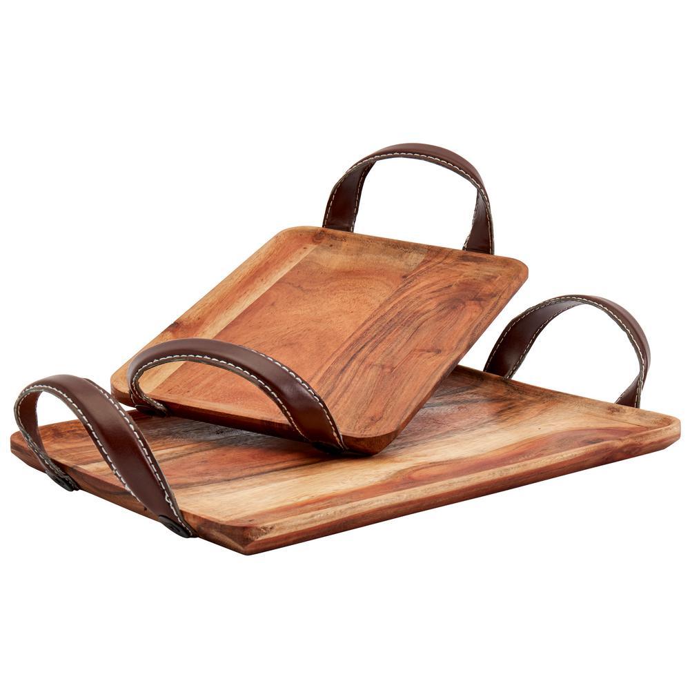 15''x3.375'' Berkley Acacia Wood Rectangular Serving Trays with Handles (Set of 2)
