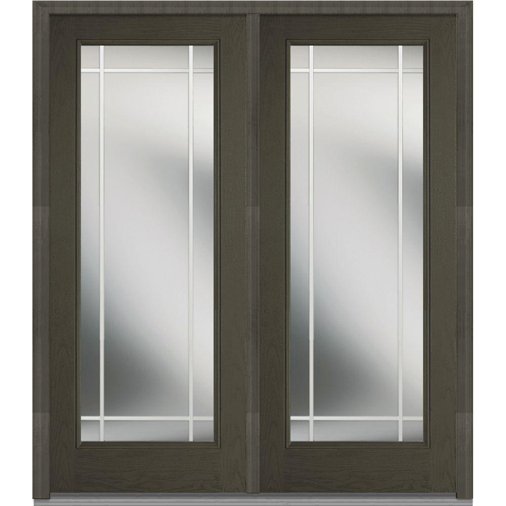 64 in. x 80 in. Prairie Internal Muntins Left-Hand Full Lite Classic Stained Fiberglass Oak Prehung Front Door