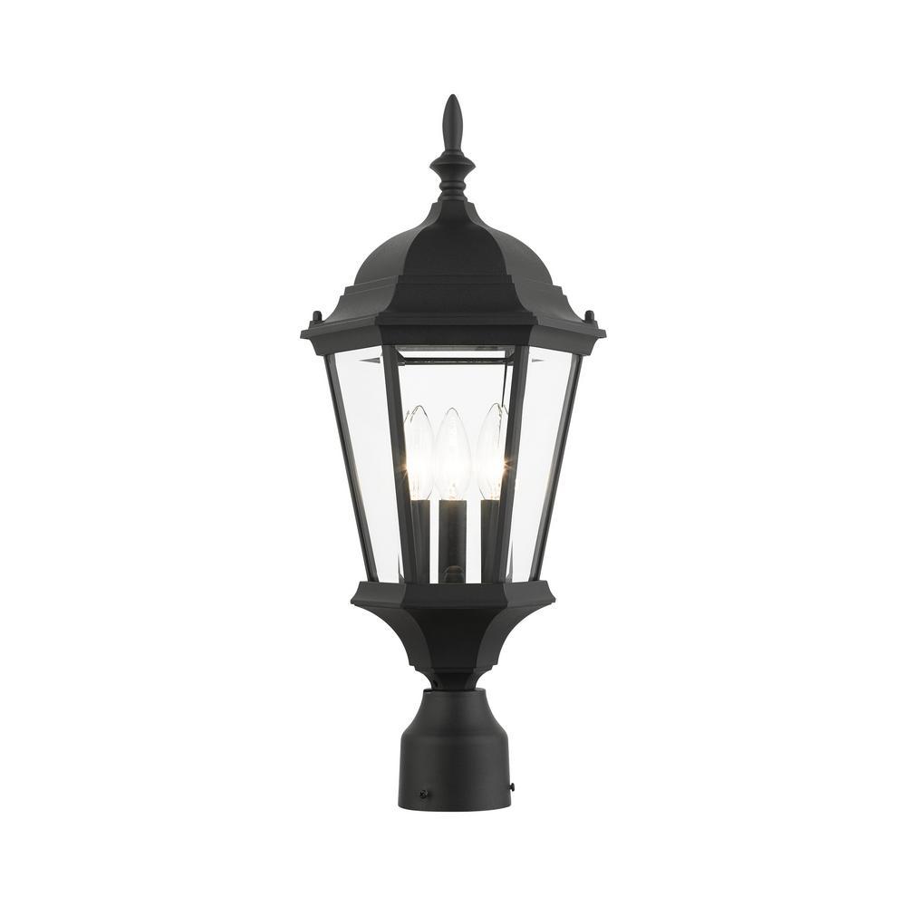 Hamilton 3 Light Textured Black Outdoor Post Top Lantern