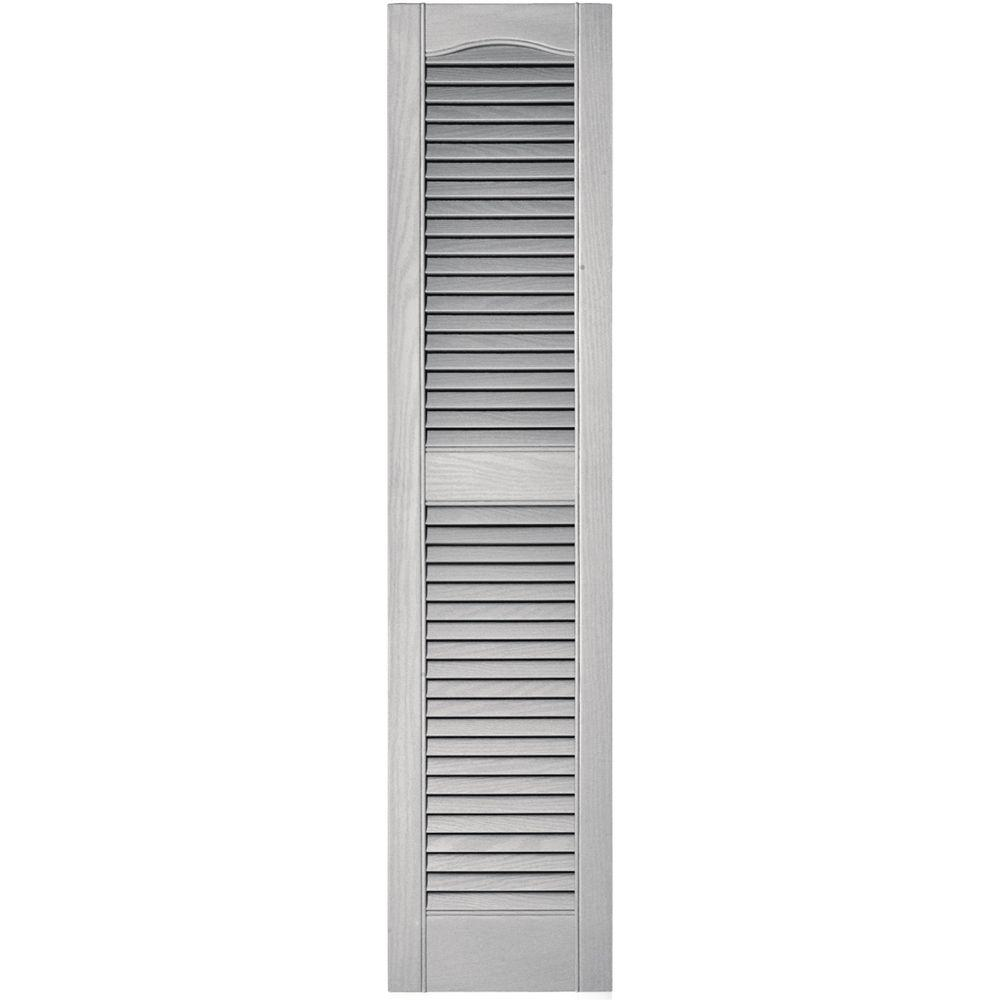 Builders Edge 12 in. x 52 in. Louvered Vinyl Exterior Shutters Pair in #030 Paintable