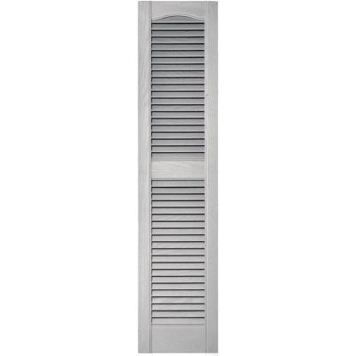 12 in. x 52 in. Louvered Vinyl Exterior Shutters Pair in #030 Paintable