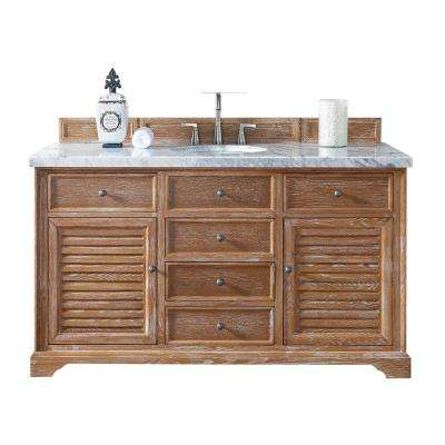 Savannah 60 in. W Single Vanity in Driftwood with Marble Vanity Top in Carrara White with White Basin