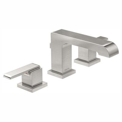 Ara 8 in. Widespread 2-Handle Bathroom Faucet with Metal Drain Assembly in Stainless