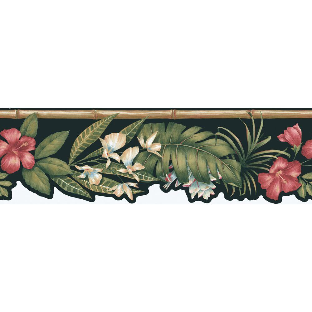 The Wallpaper Company 8 in. x 10 in. Black Tropical Flower Die Cut Border Sample