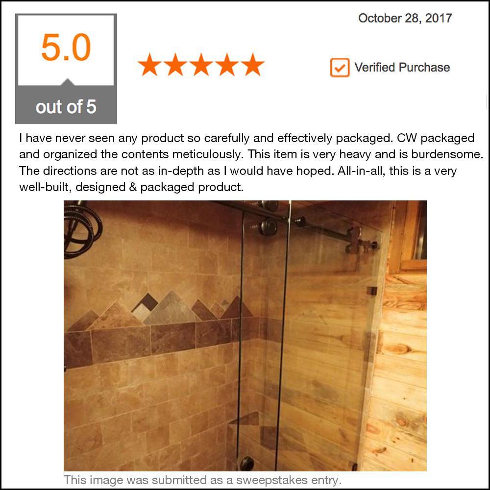 Contractors Wardrobe Model 8800 60 In X 76 In Frameless Sliding Shower Door In Bronze With Circular Thru Glass Door Pull 88 6076bzclr The Home Depot