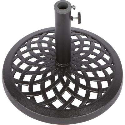 17.7 in. Dia Cast Iron Patio Umbrella Base in Black