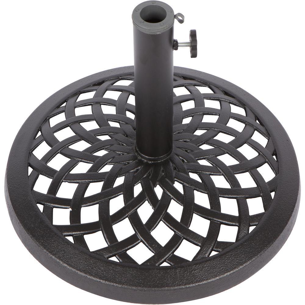 17.7 in. Dia Cast Iron Patio Umbrella Base in Black