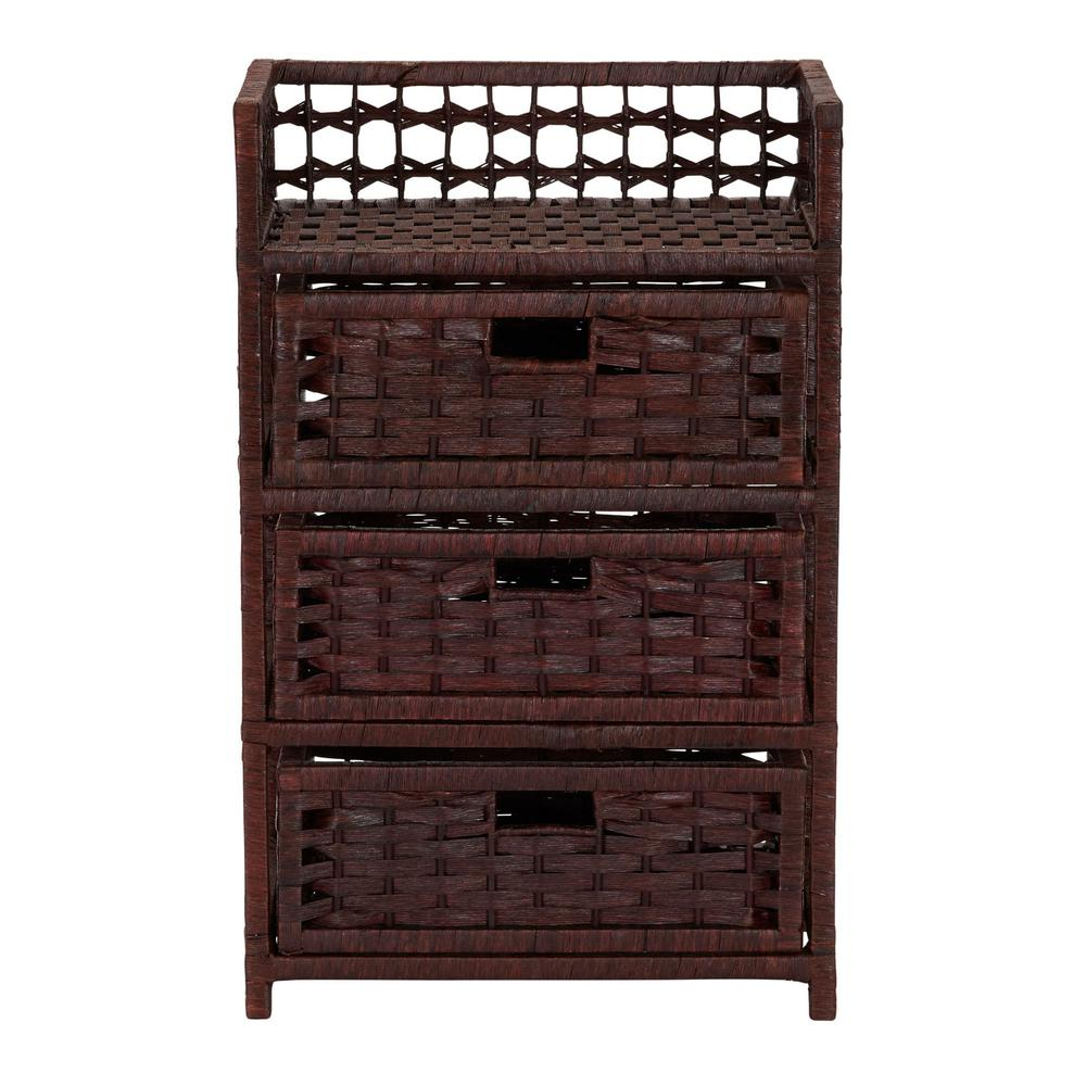 Dark Brown Stain Household Essentials Hand-Woven Paper Rope 3-Drawer Chest