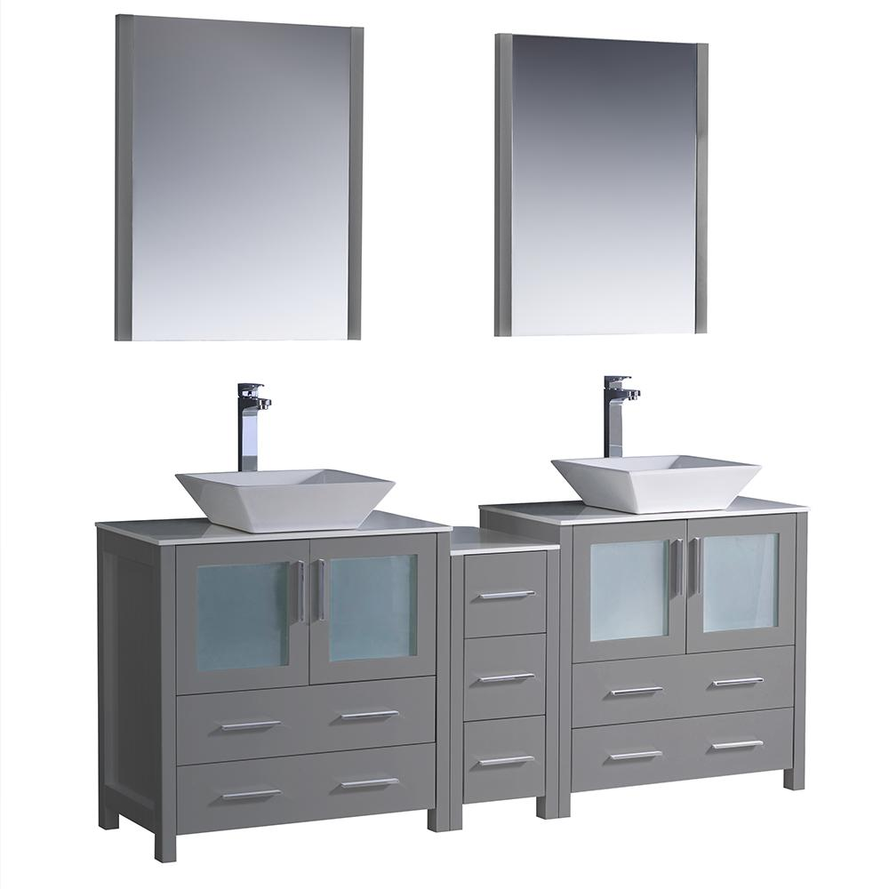 Fresca Torino 72 In Double Vanity Gray With Gl Stone Tops White Vessel Sink Middle Cabinet Mirrors