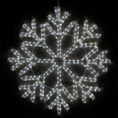 24 in. 380-Light LED Cool White 40 Point Hanging Snowflake Decor
