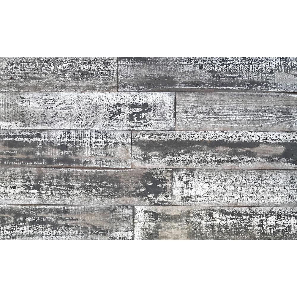 Easy Planking Thermo-treated 1/4 in. x 5 in. x 4 ft. White and Black Barn Wood Wall Planks (10 sq. ft. per 6-Pack)