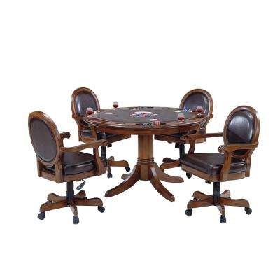 Warrington Cherry 5-Piece Gaming Table and Chairs