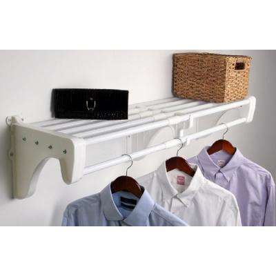 12 in. D x 42 in. to 75 in. W x 10.5 in. H Expandable White Steel Tubes with 2 End Brackets Shelf and Rod Closet System