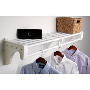 Expandable DIY Closet Shelf & Rod 42 in - 75 in W, White, Mounts to Back Wall with 2 End Brackets, Wire, Closet System
