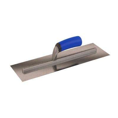 16 in. x 5 in. Long-Shank Square End Finishing Trowel with Comfort Grip Handle