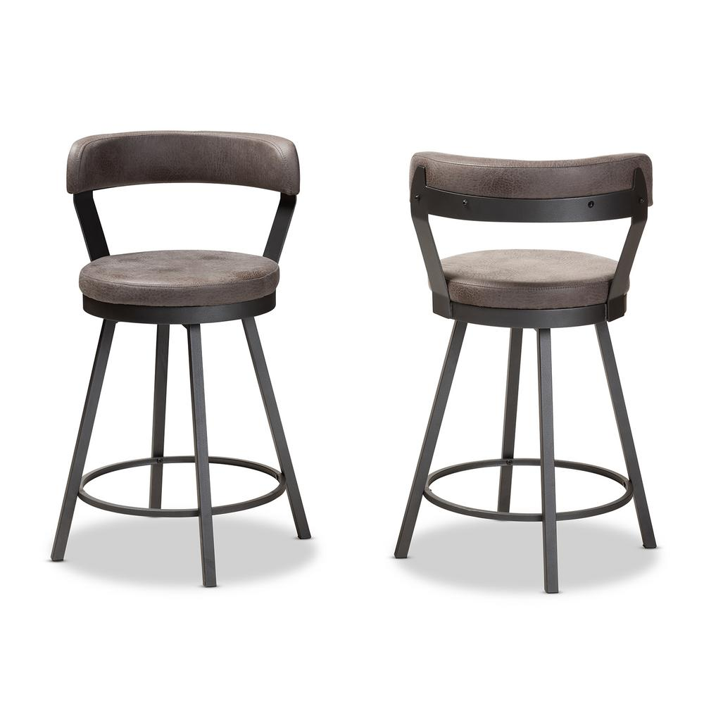 Arcene 32 in. Gray and Black Bar Stool (Set of 2)