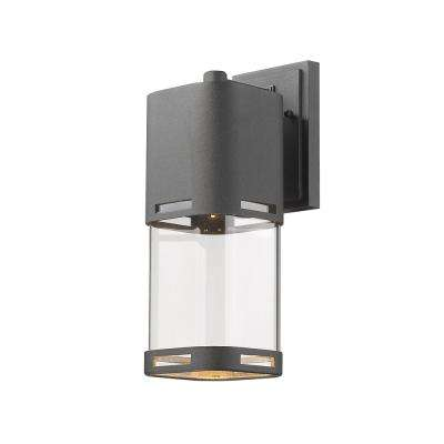 Noya 75-Watt Equivalent Outdoor Black Integrated LED Wall Mount Sconce with Clear Glass Shade