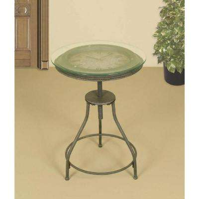 Round Oil-Rubbed Bronze Inlaid Clock Side Table