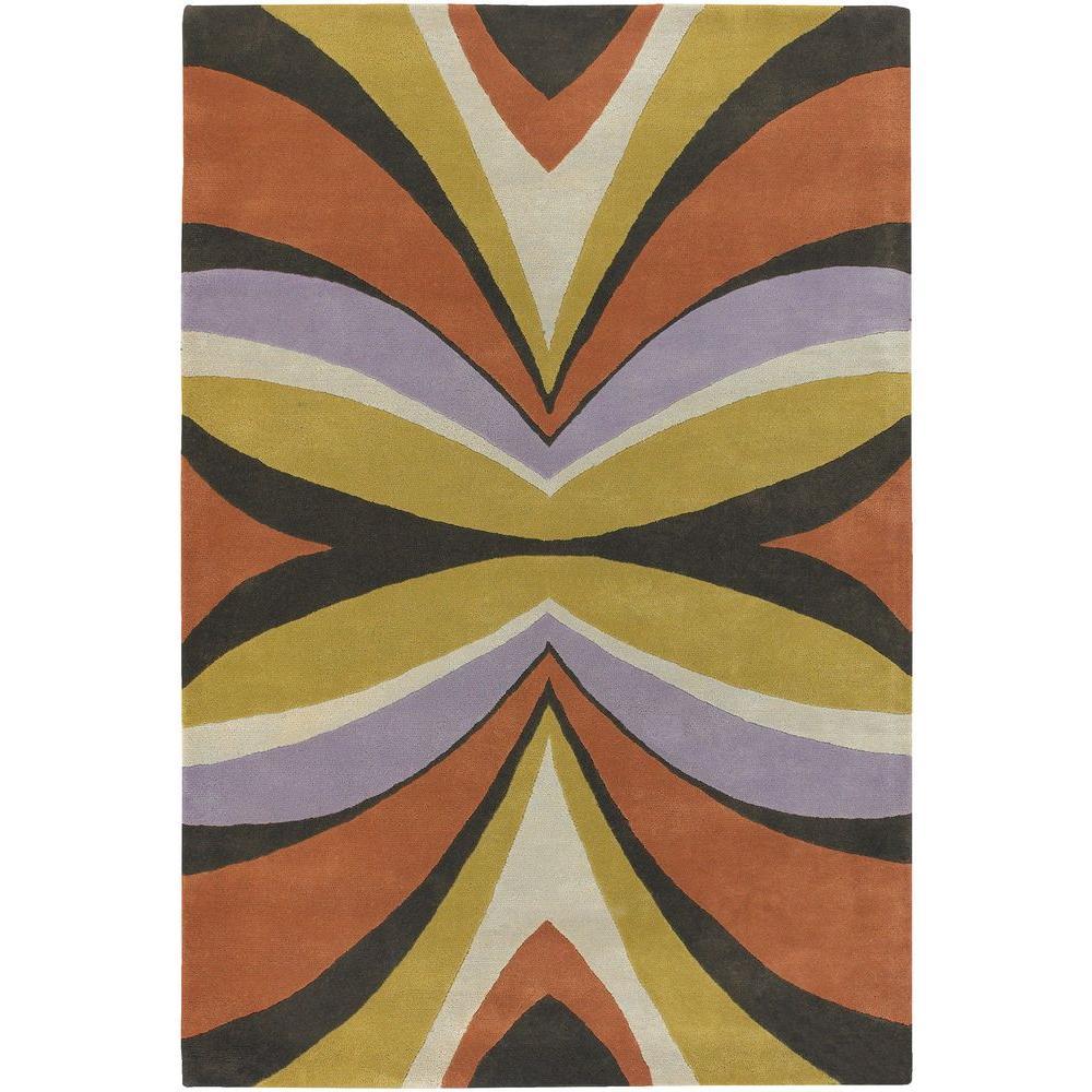 Bense Orange/Cream/Green/Dark Brown/Purple 5 ft. x 7 ft. 6 in. Indoor