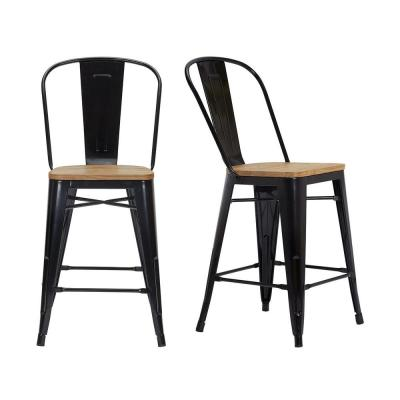 Finwick Black Metal Counter Stool with Back and Wood Seat (Set of 2) (17.72 in. W x 38.78 in. H)