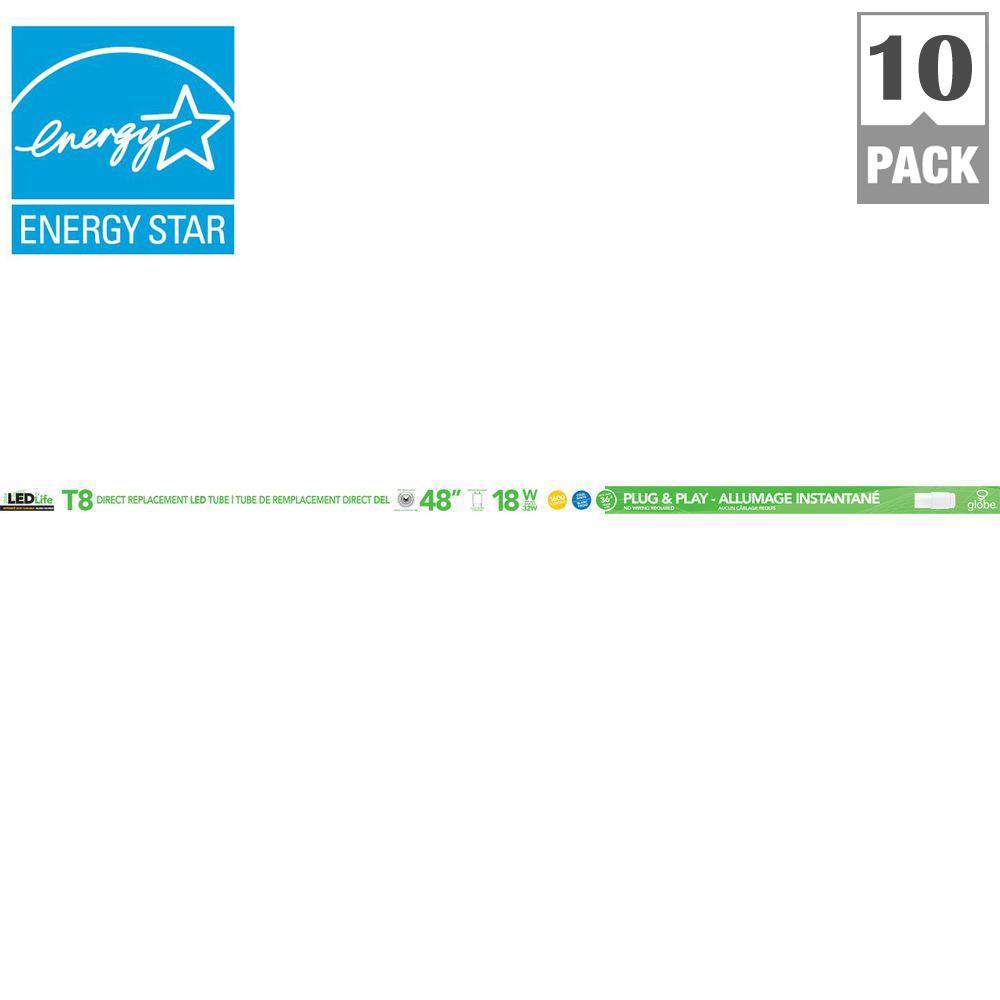 4 ft. T8 18-Watt 1600 Lumens LED Tube Light - Cool White (10-Pack)