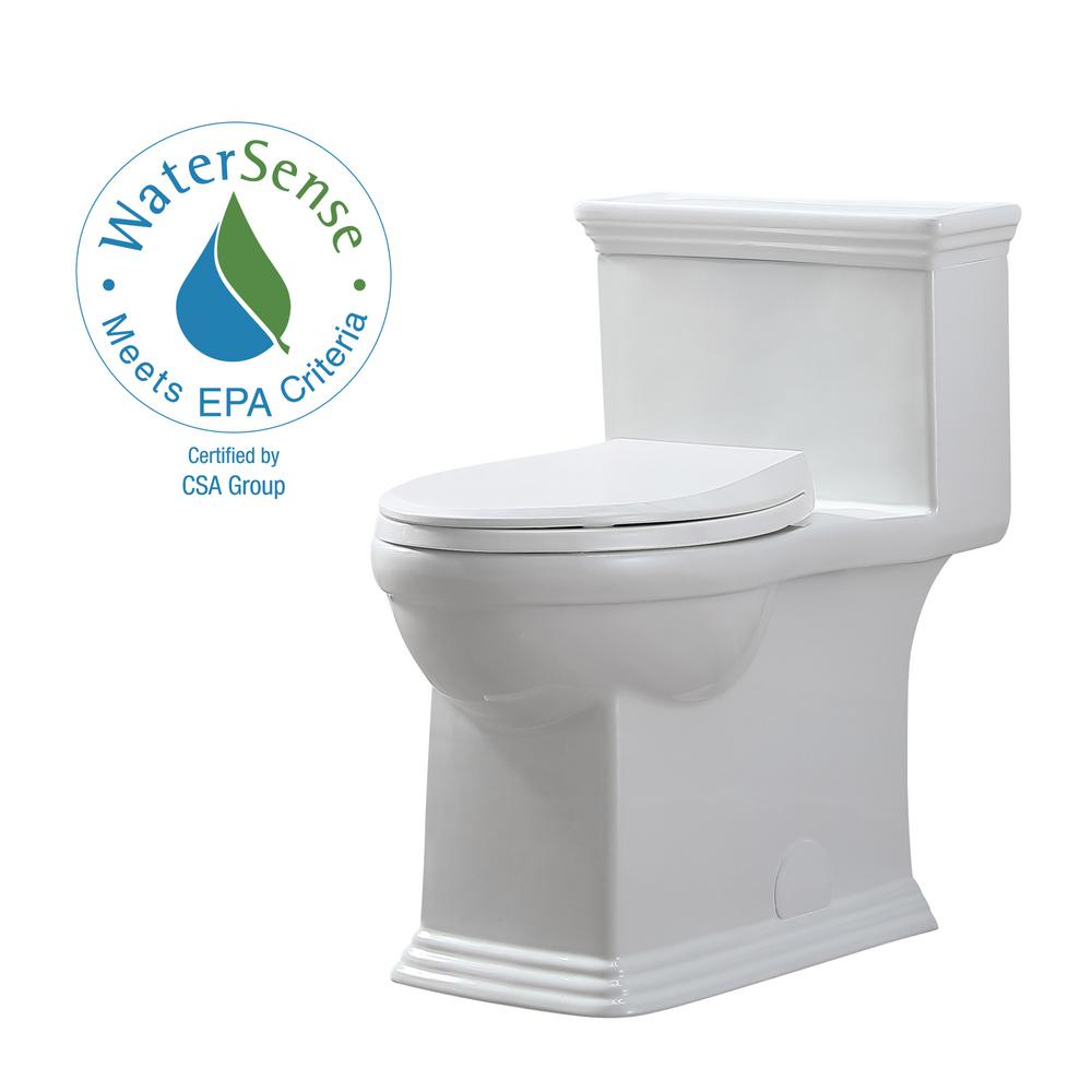 Glacier Bay Erica 12 in. Rough-In 1-piece 1.28 GPF Single Flush Elongated Toilet in White and Seat Included