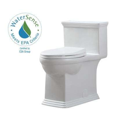 Erica 12 in. Rough-In 1-piece 1.28 GPF Single Flush Elongated Toilet in White and Seat Included