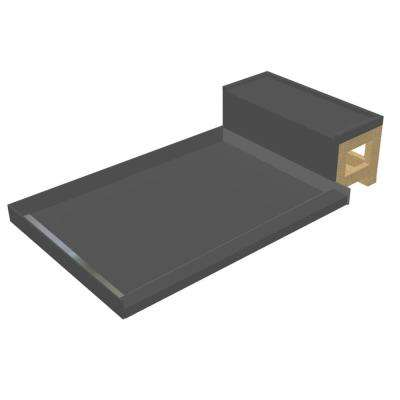 36 in. x 48 in. Single Threshold Shower Base in Gray and Bench Kit with Left Drain and Tileable Trench Grate