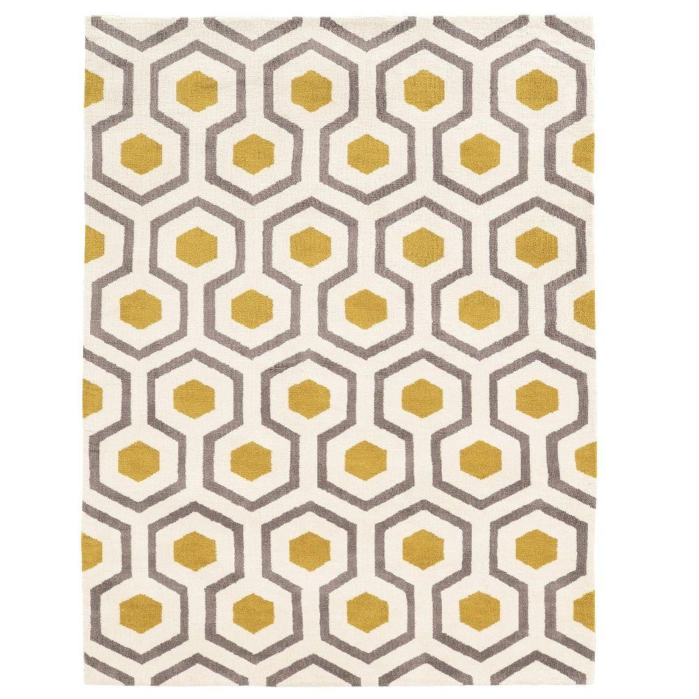 Linon Home Decor Geo Collection Ivory/Grey 5 Ft. X 7 Ft. Indoor
