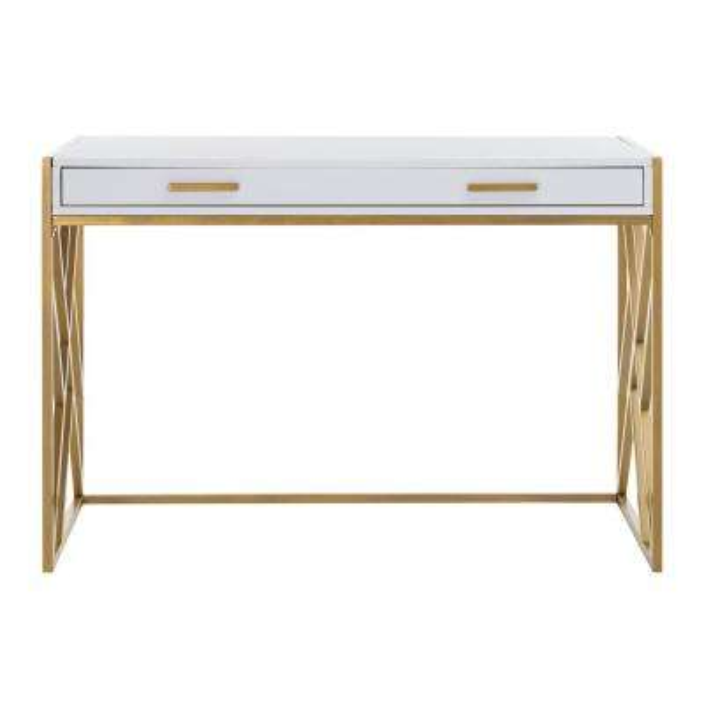 Elaine White/Gold Desk with Drawer