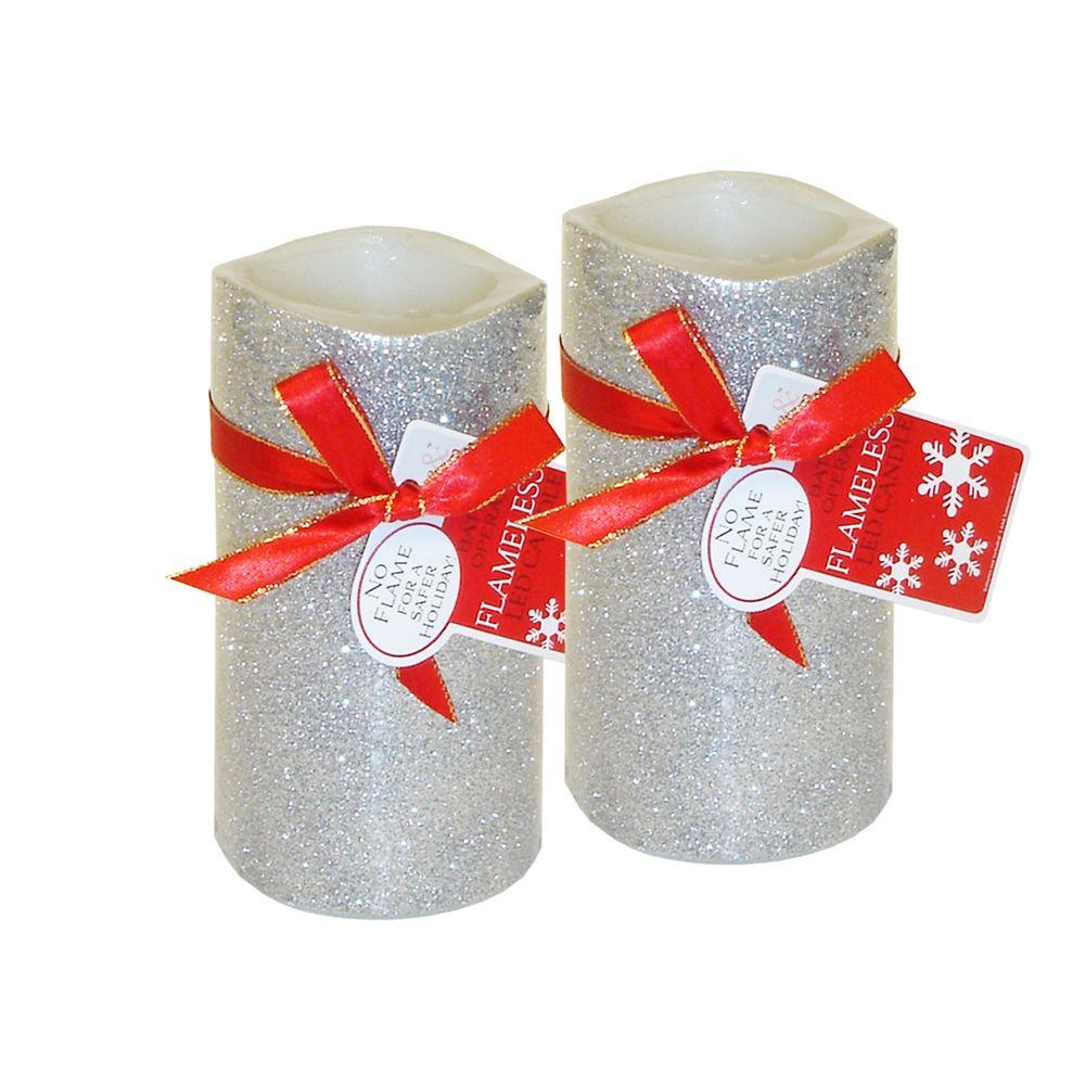 Brite Star 6 in. Silver Glitter Flameless LED Candles (Set of 2)