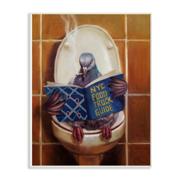 12.5 in. x 18.5 in. ''Pigeon Smoking on the Toilet Reading Funny Painting'' by Duy Huynh Wood Wall Art