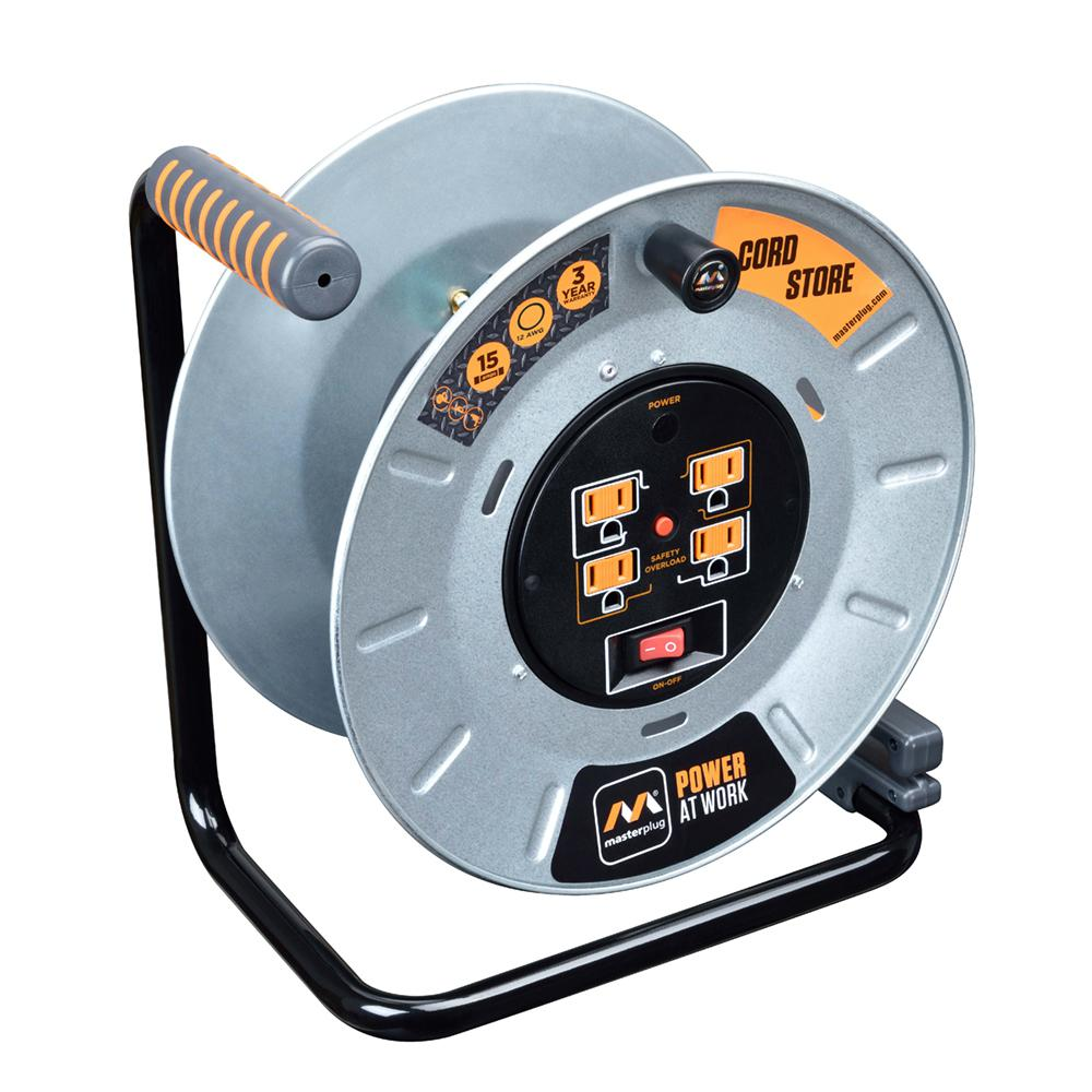 MasterPlug 1 ft. 15 Amp 12AWG Large Open Metal Reel With 4-Sockets