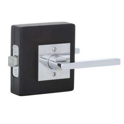 Reserve Square Polished Chrome Universal Hall/Closet Door Lever with Contemporary Square Rose