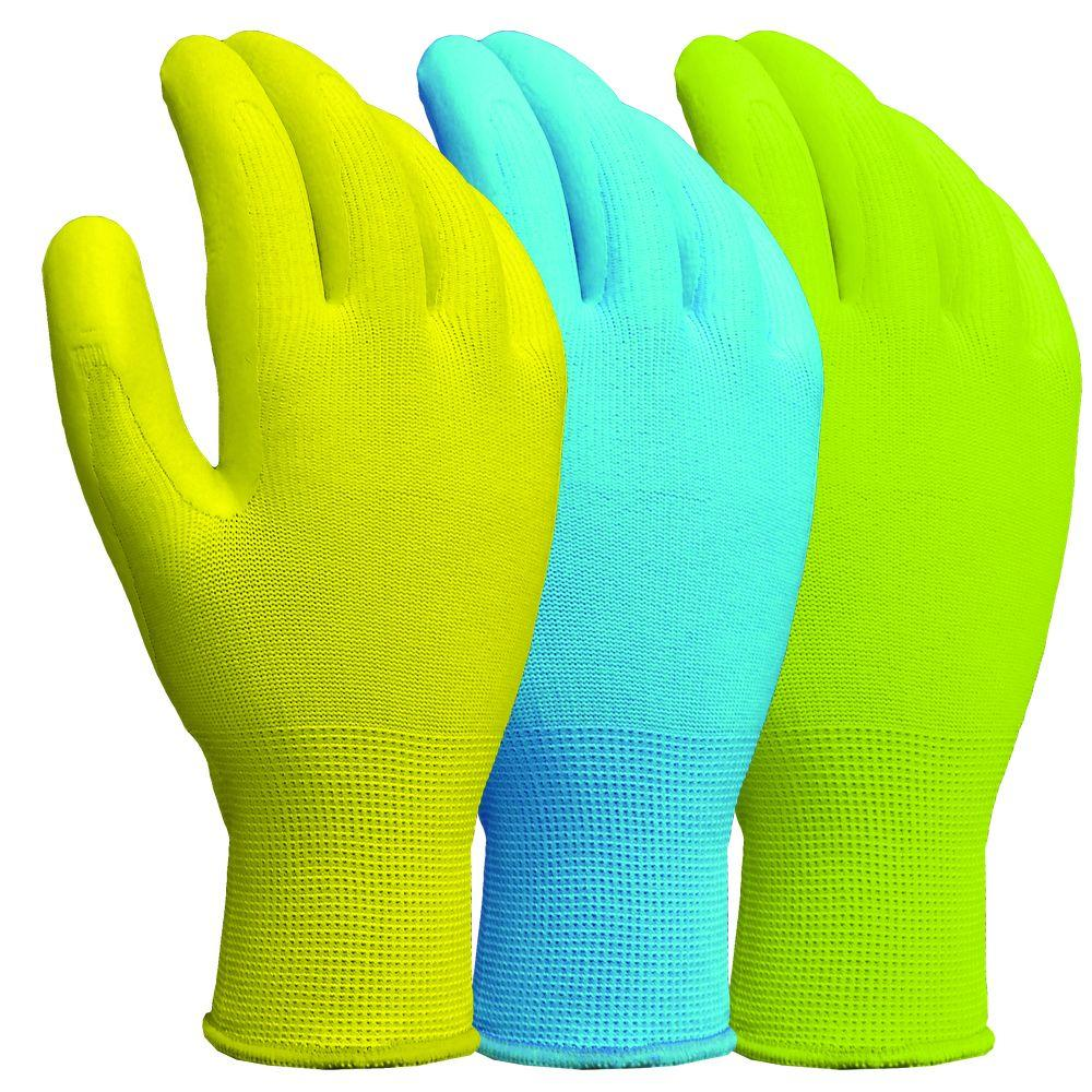 Latex Coated Multiple Color Gloves (3-Pair)