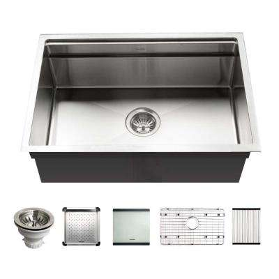 Novus Series Undermount Stainless Steel 26 in. Single Bowl Kitchen Sink with Sliding Dual Platform Workstation