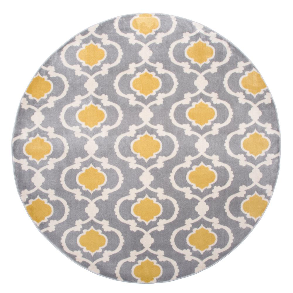 World Rug Gallery Contemporary Moroccan Trellis Gray Yellow 6 Ft In Indoor Round Area