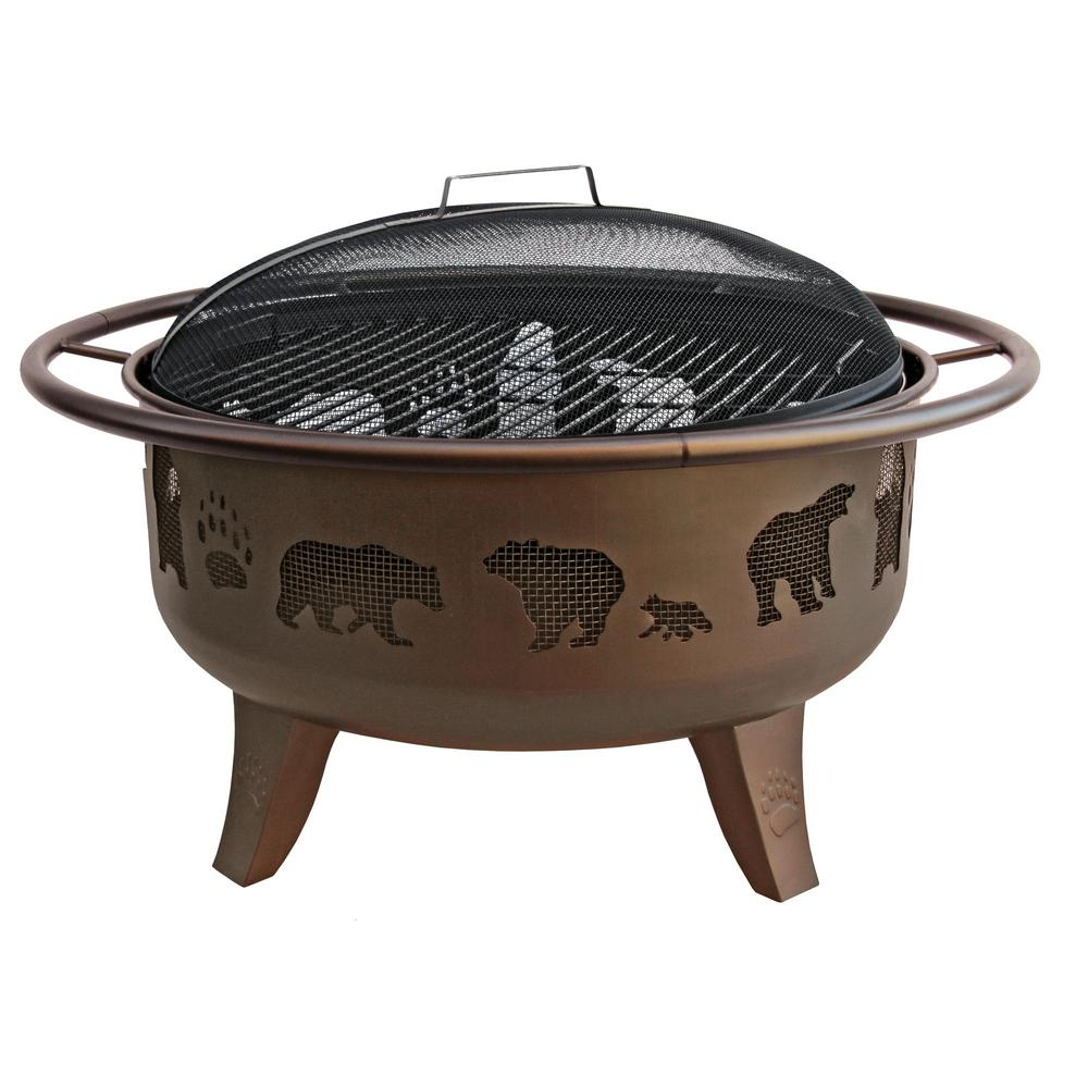 LANDMANN 36 in. x 36 in. x 23.5 in. Round Steel Wood Fire Dance Bear and Paw Burning Fire Pit