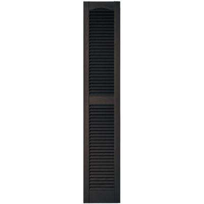 12 in. x 64 in. Louvered Vinyl Exterior Shutters Pair in #010 Musket Brown