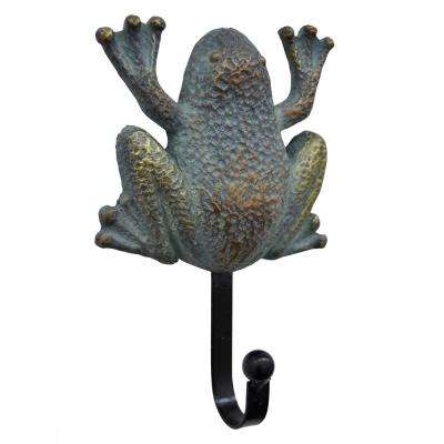 6.5 in. Patina Metal Frog Wall Single Hook in Blue/Bronze
