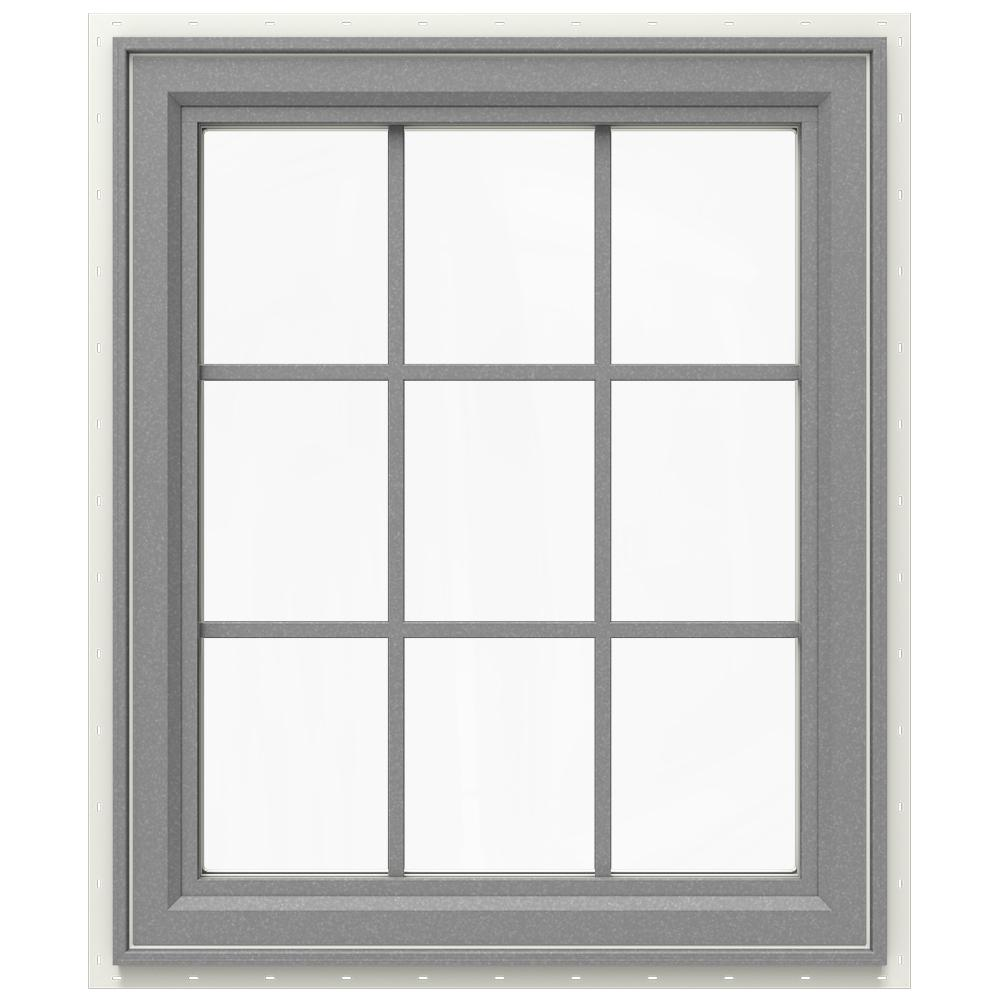 JELD-WEN 29.5 in. x 35.5 in. V-4500 Series Right-Hand Casement Vinyl Window with Grids - Gray