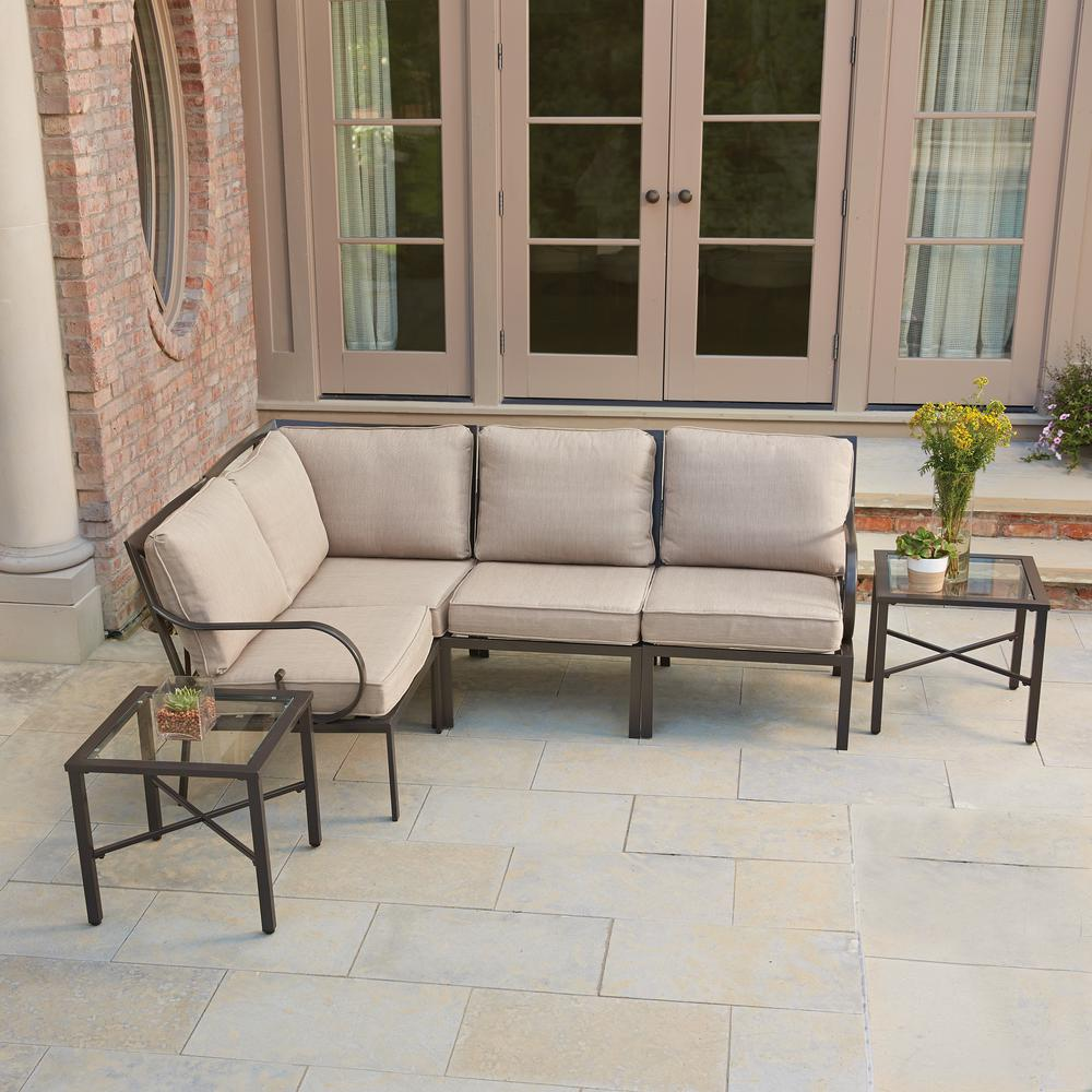 Hampton Bay Granbury 6 Piece Metal Outdoor Sectional With Fossil Cushions